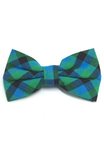 Splice Cufflinks Probe Series Green, Blue and Black Checked Design Cotton Pre-tied Bow Tie SP744AC10QPHSG_1