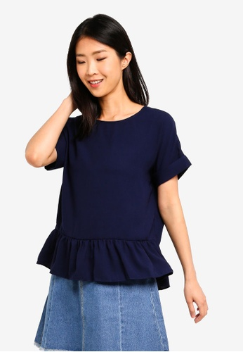 ZALORA BASICS navy Basic Crew Neck Top With Ruffles Hem 5897BAA712F3A7GS_1