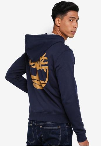 Timberland navy Core Tree Logo Full Zip Hoodie 28514AA665B120GS_1