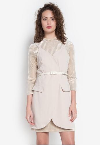 Hug beige Overlap Slip Dress W/ Inner Top And Belt HU902AA0KDNOPH_1