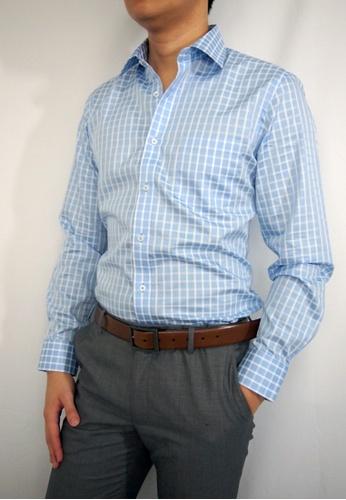 Max Rafael blue Blue Check Shirt MA991AA15DOASG_1
