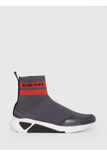 Diesel grey S-Kb Sock Slip On Shoes 73585SH84E385CGS_1