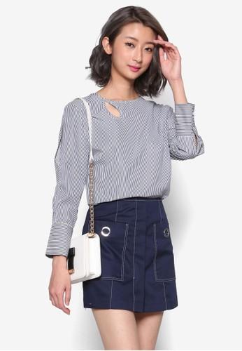 esprit旗艦店條紋鏤空長袖上衣, 服飾, 上衣