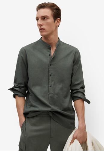 MANGO Man green Regular-Fit Mao Collar Linen Shirt E59E2AAB16F5F7GS_1