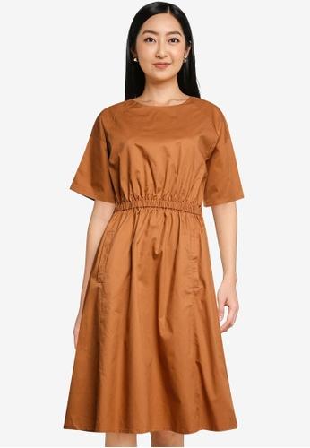 niko and ... brown Paneled Crossover Back Dress 1F3DDAAB1B92D0GS_1