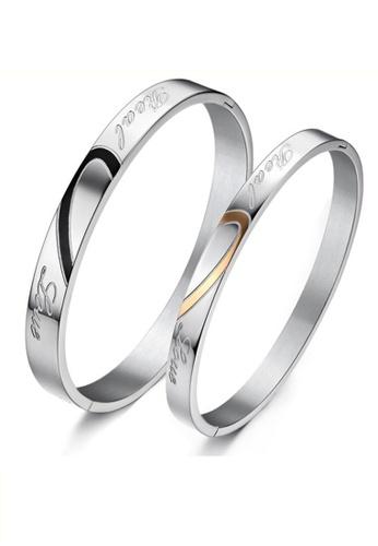 Trendyshop black and gold Matching Heart Couple Bangle Set TR116AC2V54XHK_1