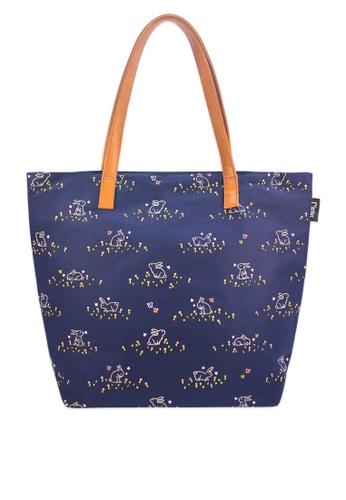 Ripples blue Meadow Rabbits Tote Bag DA03EACBD525F5GS_1