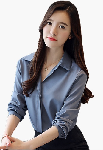 Halo blue Long Sleeves Blouses B443DAAABC1186GS_1
