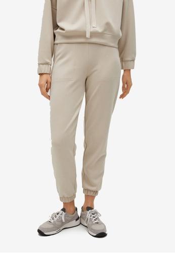 Mango brown Elastic Waist Trousers 33BD2AA86A5245GS_1