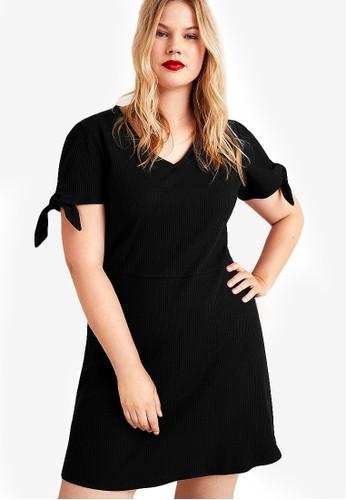 Violeta by MANGO black Plus Size Bow Cotton Dress 24526AAF044F8FGS_1