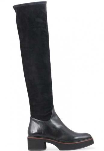 Shu Talk 黑色 絨面真皮皮革低跟女鞋靴 SH544SH099YHTW_1