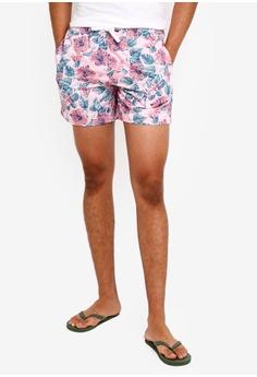 6b1d8efc829 Jack Wills pink Blakeshall Mid Hibiscus Swim Shorts 5D6B3US5C81D6BGS_1