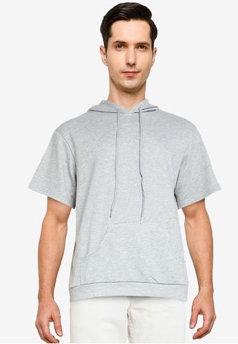 ZALORA BASICS grey Boxy Fit Short Sleeve Hoodie 62CAEAAE5EE0DCGS_1