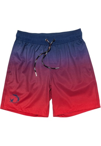"""BWET Swimwear red and multi and navy Eco-Friendly Quick dry UV protection Perfect fit Beach Shorts """"Sunset"""" - Side and back pockets 6B658USBACDECBGS_1"""