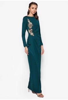 Applique Lace Cascade Drape Dress