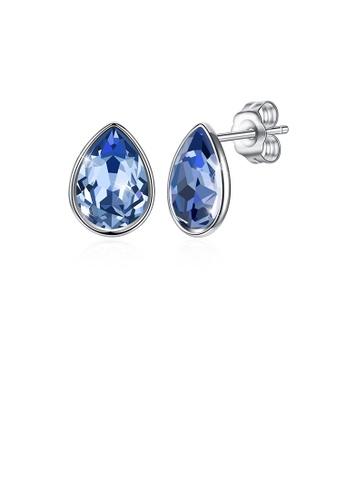Glamorousky blue 925 Sterling Silver Simple Water Drop Shape Blue Austrian Element Crystal Stud Earrings C86F8AC9E7D004GS_1