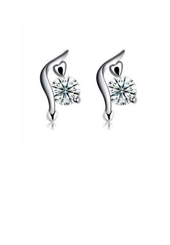 Glamorousky white 925 Sterling Silver Fashion Trend Cubic Zircon Stud Earrings 7C334AC872B8F0GS_1