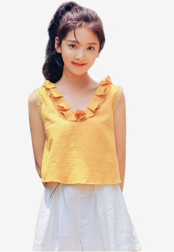 Shopsfashion yellow Folded Neckline Blouse 32D78AA565F1FCGS_1