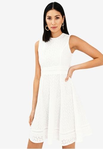 FORCAST white Jenna Sleeveless Crochet Dress 79CD8AA00E87A9GS_1