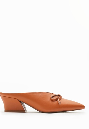 PAZZION brown Point V-cut Heels 94EB6SH4C87708GS_1
