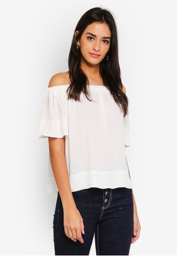 WAREHOUSE white Ruched Bardot Top C4286AA5C37741GS_1