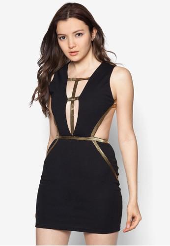 金屬邊飾大挖背洋裝, 服飾, 緊身zalora taiwan 時尚購物網鞋子洋裝