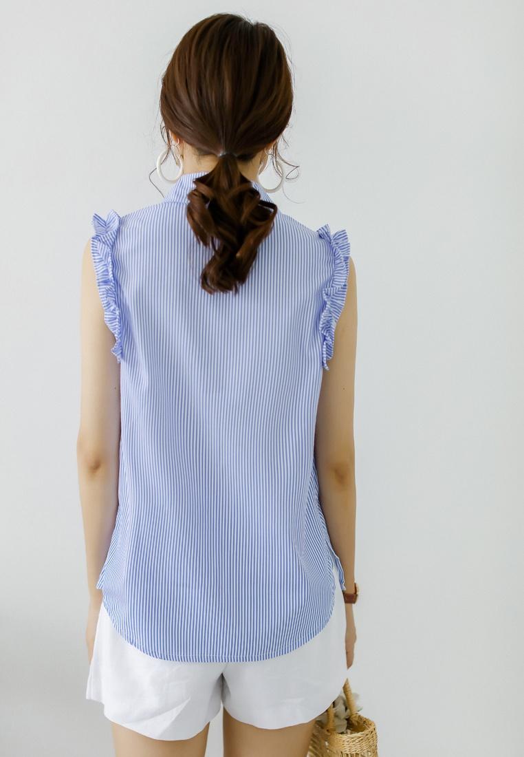 Top Shopsfashion Shopsfashion Blue Sleeveless Embroidery Embroidery xHRqcz