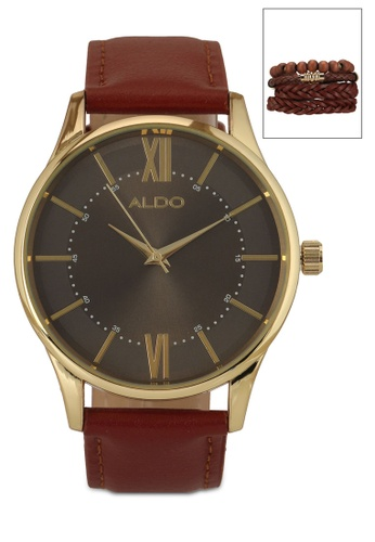 ALDO brown Adalem Watch and Bracelet Set 0AF63AC2A610DAGS_1