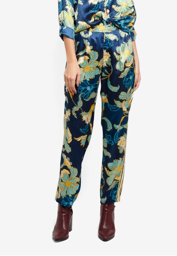 River Island green Floral Satin Wide Leg Pyjama Trousers 542E3AA7D21D3FGS_1
