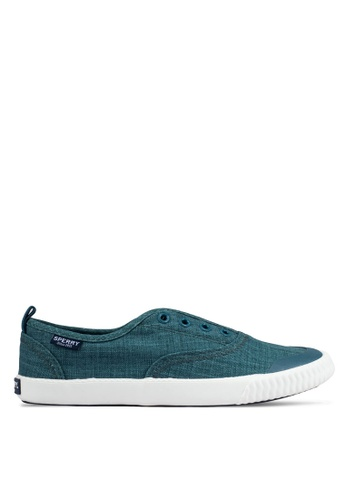 Sperry green Sayel Clew Scratched Canvas Sneakers SP132SH0RUUQMY_1