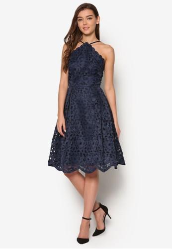 Kayleigh 削肩蕾絲esprit 內衣傘擺洋裝, 服飾, 洋裝