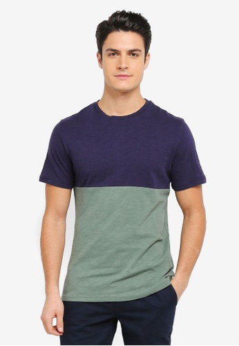 ZALORA green and multi and navy Contrast Colour Slub Tee D6A74AA92E0A50GS_1