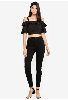 ae154ae590091 20% OFF Kitschen Strapped Cut Out Shoulder Crop Top RM 59.90 NOW RM 47.92  Sizes S M L