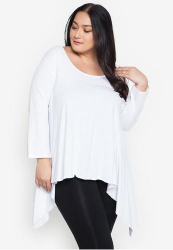Multiples white Eloise Quarter Sleeve Plus Size Swing Blouse 8D0C8AA54B8667GS_1