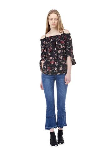 VOV(Voice of Voices) black Black Floral Pattern Off-Shoulder Blouse 78B35AADCCF3F0GS_1