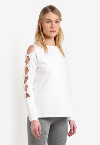 Mango white Ribbons Cold-Shoulder Sweatshirt MA193AA0RK8EMY_1