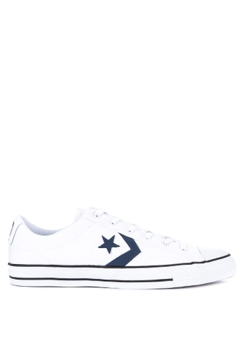 Converse white Star Player Canvas Sneakers D84CDSHF3F6BC6GS_1