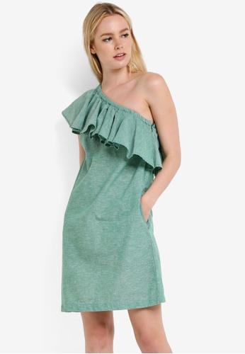 WAREHOUSE green Ruffle One Shoulder Dress WA653AA94RQBMY_1