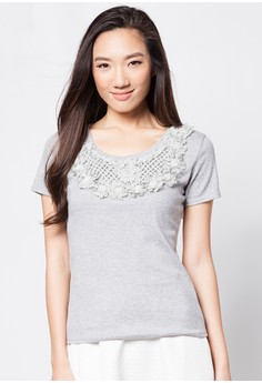 Short Sleeves Blouse with Pearl Beads