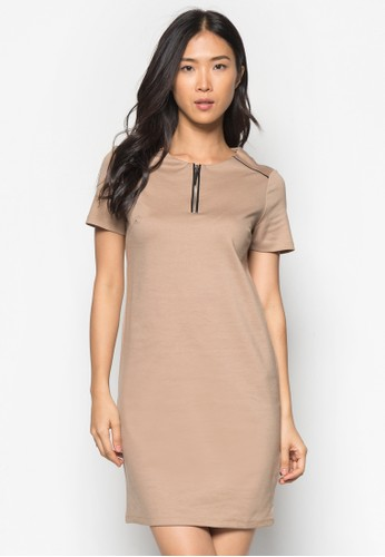 Camel Zip Front Szalora開箱hift Dress, 服飾, 正式洋裝