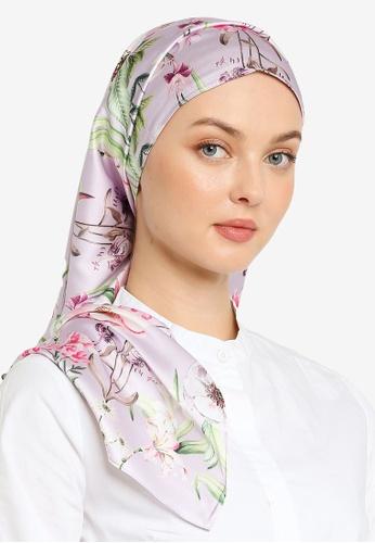 Hijabii 粉紅色 綢緞花卉印花圍巾 93508ACB17ED27GS_1