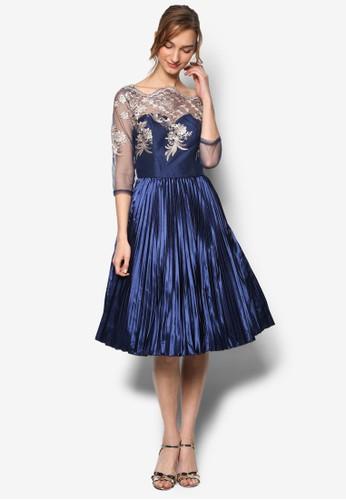 Lula esprit outlet 高雄網格繡花起褶七分袖連身裙, 服飾, 服飾