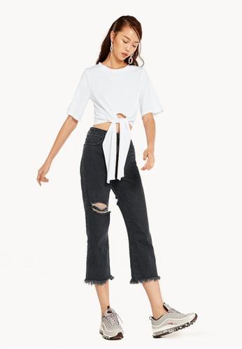 Pomelo white Laila Front Tie T-Shirt - White C887DAA2F6E15AGS_1