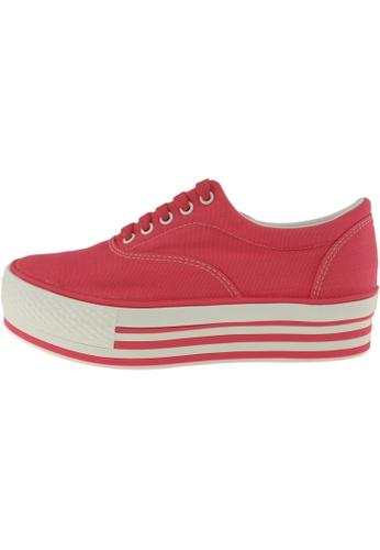 Maxstar 紅色 新款韩国鞋C40-5H時尚帆布布混合女紅色 US Women Size MA345SH88HJBTW_1