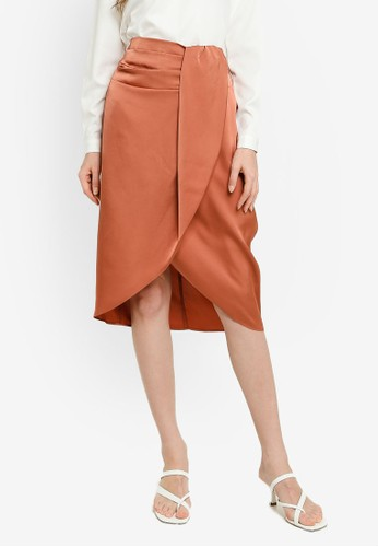 FORCAST orange and gold and brown Kylie Crossover Skirt C68E0AA6BF2988GS_1