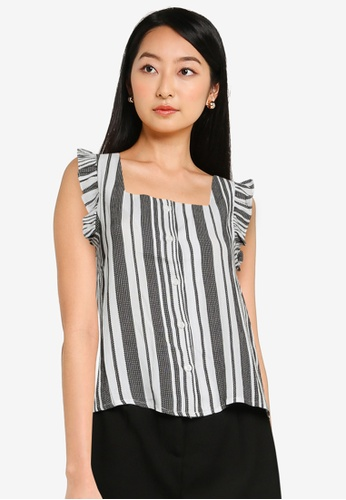 ZALORA BASICS multi Flutter Sleeves Square Neck Top 0080CAAC024B3CGS_1