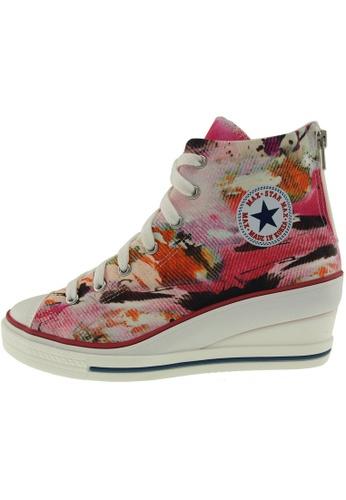 Maxstar 紅色 新款韩国鞋7H-Zip時尚帆布布混合女紅色 US Women Size MA345SH15GWMTW_1