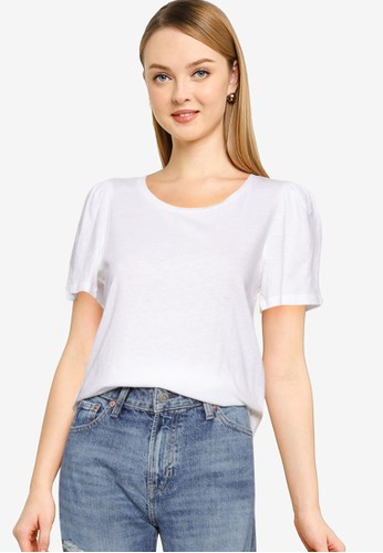 Gap white Short Sleeves  Auth Flutter Sleeves Tee CA2E1AA2DB4091GS_1