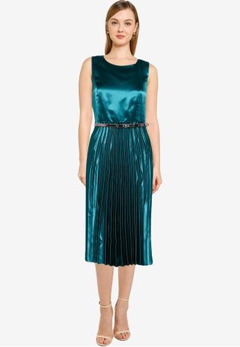 Dorothy Perkins blue Sleeveless Satin Pleated Belted Dress 3343DAAE7DBD42GS_1