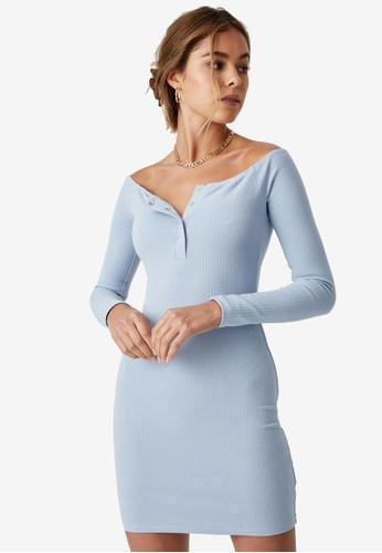 Supre blue Pia Buttoned Mini Dress 089EDAAF254726GS_1